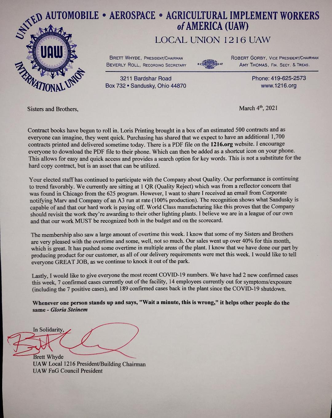 Chairman Letter March 5th, 2021